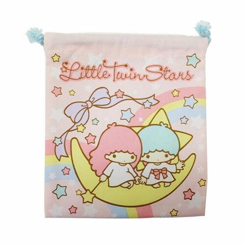 【日本進口正版】雙子星 KIKILALA 帆布 束口袋 收納袋 抽繩束口袋 三麗鷗 Sanrio - 424992