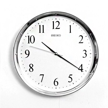 SEIKO精工時鐘 簡約典雅亮銀色外框設計掛鐘 滑動式靜音秒針 柒彩年代【NG1729】原廠公司貨 0