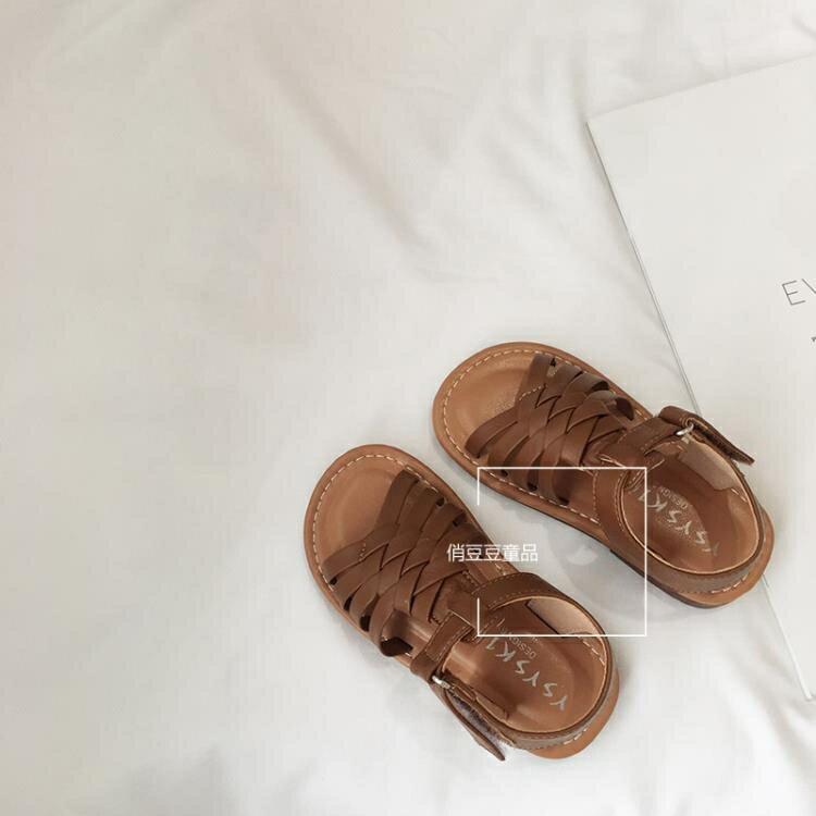 女童涼鞋 2020夏季新款童鞋女韓版軟底編織露趾防滑涼鞋公主鞋