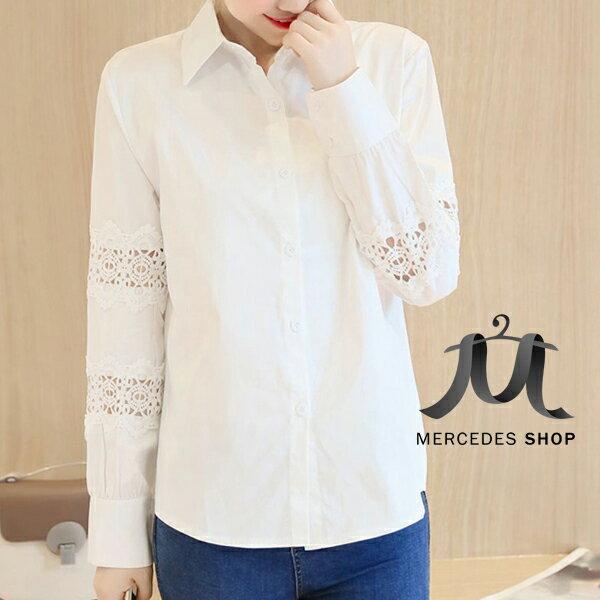 [全店7折]  白色拼接蕾絲袖宮廷長袖襯衫上衣 (S-2XL) - 梅西蒂絲