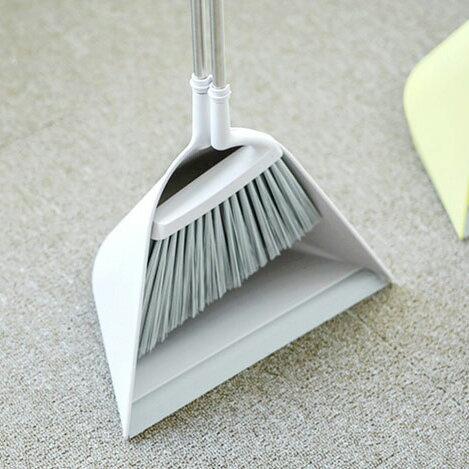 【日本TERAMOTO】tidy簡約設計掃把畚斗組-灰白色 1