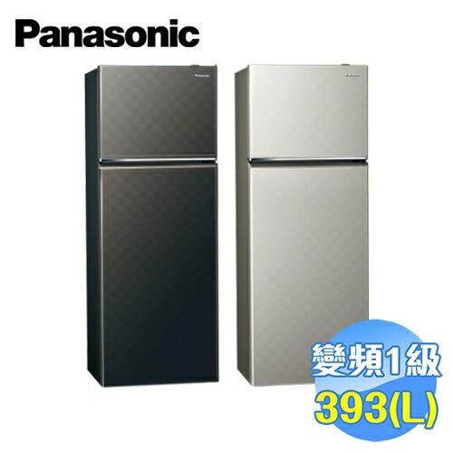 滿3千 10%點數  國際 Panasonic 393公升 雙門變頻無邊框電冰箱 NR~