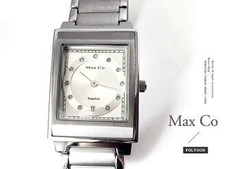 【完全計時】OUTLET手錶館│Max Co 古典時尚晶鑽方層 MA315 鋼帶 禮物 大款 M 29mm