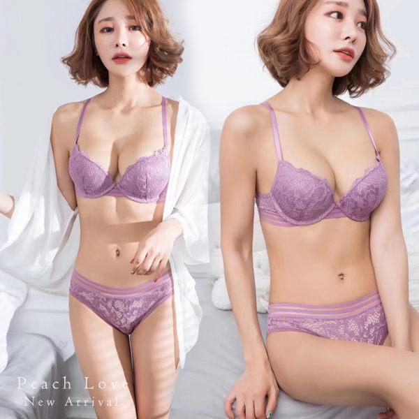 內衣裸空性感成套內衣組(三色:紫、紅、黑)-胸罩_蜜桃洋房
