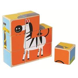【淘氣寶寶】德國 Hape 愛傑卡 動物園拼圖積木