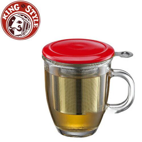 金時代書香咖啡 Tiamo 附蓋不鏽鋼濾網 玻璃馬克杯 紅色