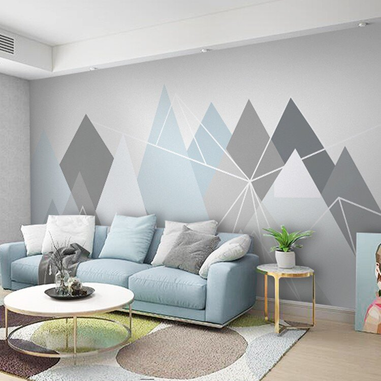 北歐ins壁紙簡約現代3D網紅客廳沙發電視背景墻無縫壁畫幾何墻紙1愛尚優品