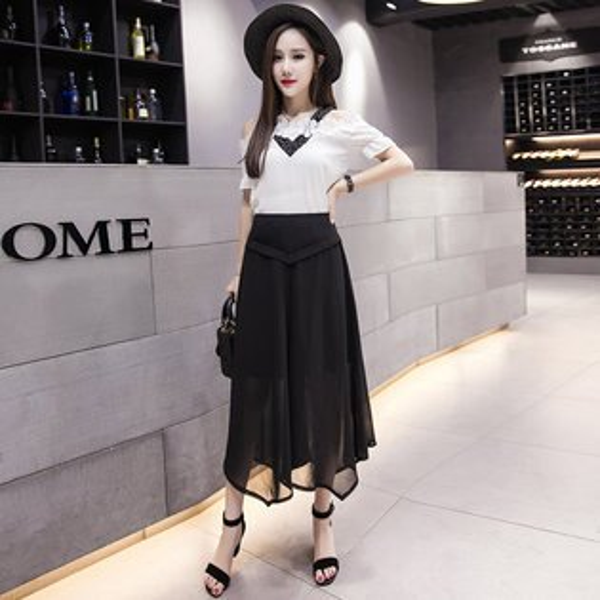 FINDSENSE服飾:FINDSENSEG5韓國時尚夏季雪紡闊腿褲高腰九分褲休閒褲褲裙