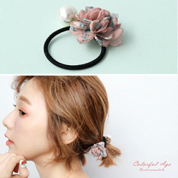 <br/><br/>  髮束 碎花花朵 大珍珠 髮飾 金色葉子 髮圈 韓國帶回 柒彩年代【NXA11】<br/><br/>