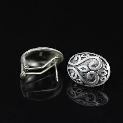 ★925純銀耳環雕花耳扣式-復古優雅古典氣質女飾品73nb78【獨家進口】【米蘭精品】 0
