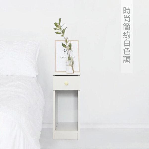 收納櫃 置物櫃 邊櫃 床頭櫃 馬卡龍系列日系床頭櫃(II)(單抽屜) (附插座) 天空樹生活館 2