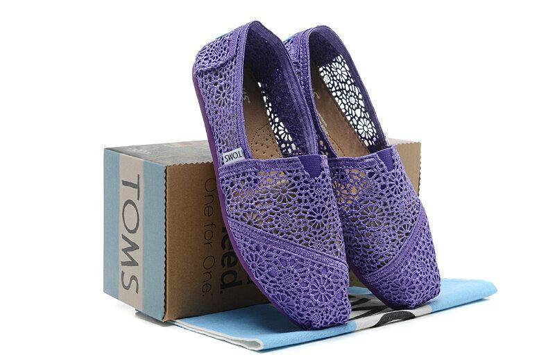 全店點數20倍│【TOMS】深紫色蕾絲鏤空繡花平底休閒鞋  Purple Crochet Women's Classics 7