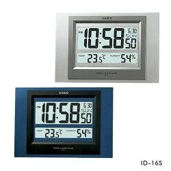 【CASIO】台灣公司貨 掛鐘 超大電子螢幕 溫度濕度感應顯示 ID-16S 藍色 灰色 保固一年