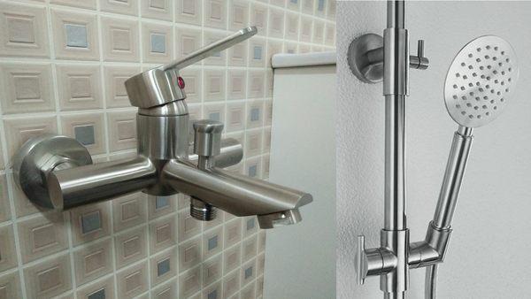 淋浴龍頭組+滑桿組(含蓮蓬頭+軟管) 正304不銹鋼 沐浴 衛浴 洗澡 水龍頭 台製質感佳