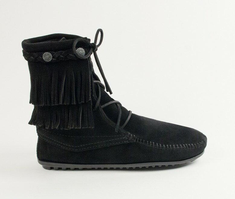 【Minnetonka 莫卡辛】黑色-純手工雙層流蘇短靴 2