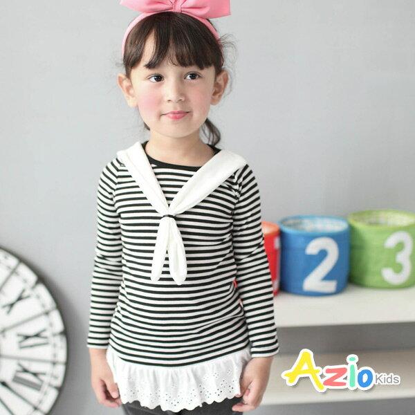 《美國派 童裝》上衣 條紋綁帶造型花邊下擺長袖T恤(黑)