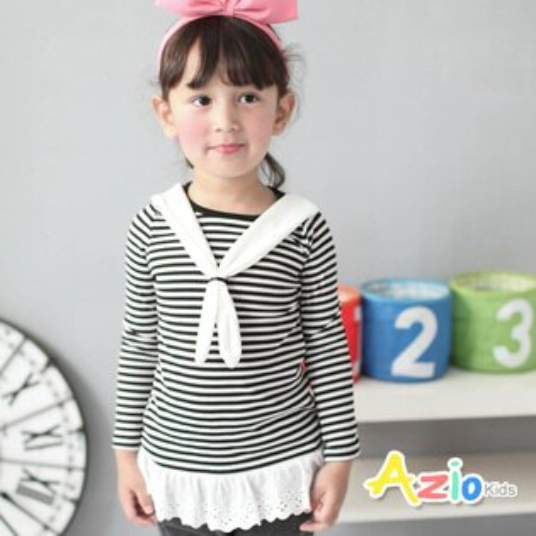 Azio Kids美國派:《美國派童裝》上衣條紋綁帶造型花邊下擺長袖T恤(黑)