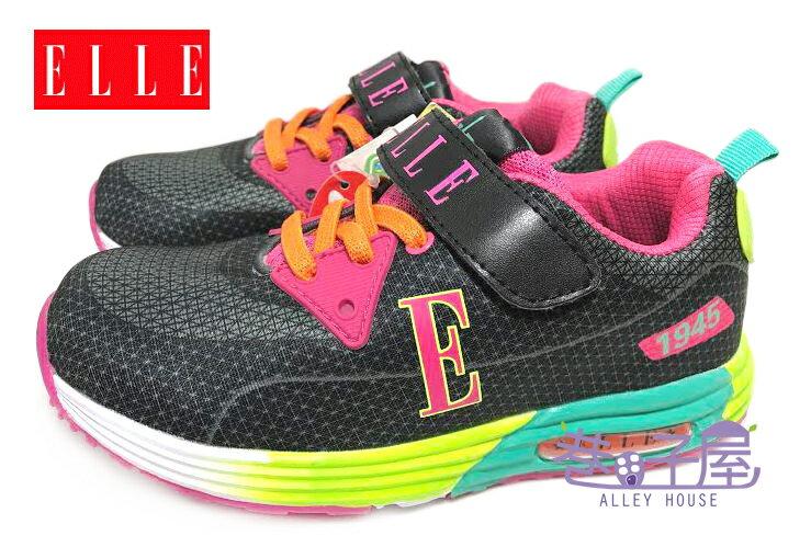 【巷子屋】ELLE 女童繽紛輕量康特杯運動慢跑鞋 [52140] 黑粉 超值價$498