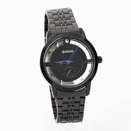 手錶 全黑鏤空獨立秒針質感金屬腕錶 亮彩指針設計 多色可挑選 柒彩年代【NE1791】單支售價 - 限時優惠好康折扣