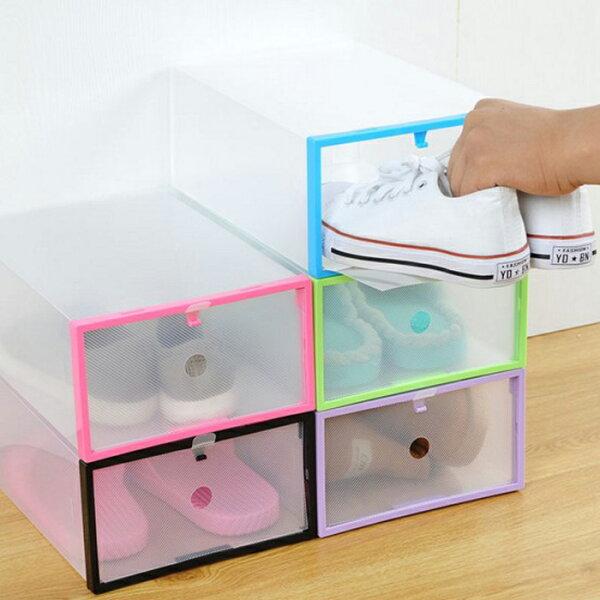 糖衣子輕鬆購【DZ0324】加厚水晶透明彩盒DIY摺疊抽屜式鞋盒收納盒
