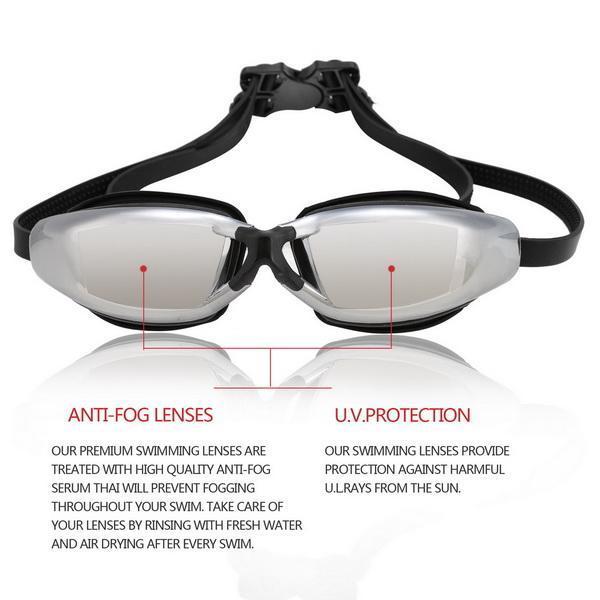 Unisex Adult UV Shield Anti-Fog Underwater Swimming Glasses Goggle 4