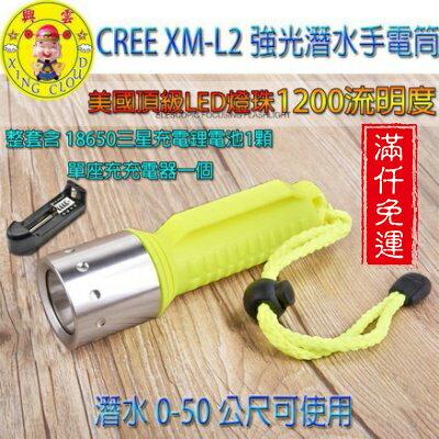 興雲網購【27044】CREE XM-L2強光潛水手電筒 防水手電筒 照明設備 釣魚燈(整套含座充+充電鋰電池)