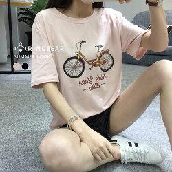 短袖T恤--淘氣百搭純色腳踏車Bike印圖短袖上衣(黑.粉L-3L)-T222眼圈熊中大尺碼