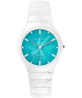 Relax Time RT-26-18馬卡龍系白綠陶瓷腕錶/綠面36.6mm