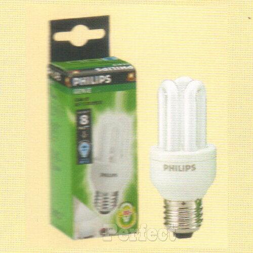 【PHILIPS ● 飛利浦】GENIE電子式3U8W省電燈泡110V 晝光色 / 燈泡色