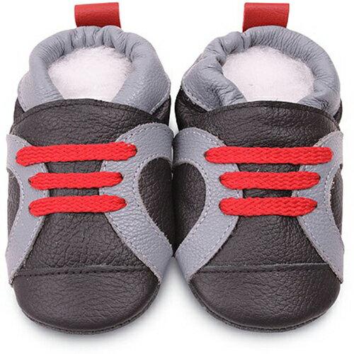 【hella 媽咪寶貝】英國 shooshoos 安全無毒真皮手工鞋/學步鞋/嬰兒鞋_灰黑紅鞋帶運動型_SBK50 (公司貨)