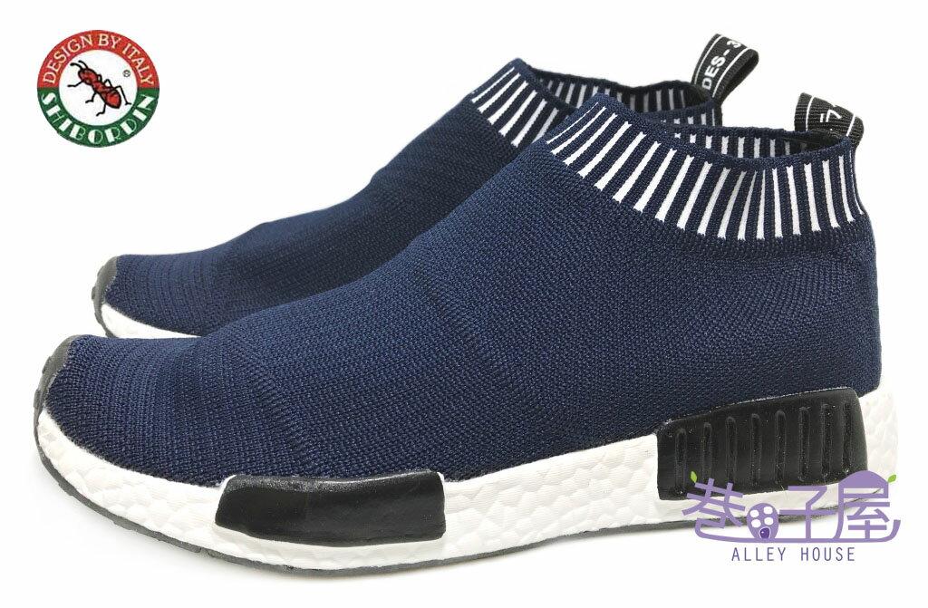 【巷子屋】喜伯登 紅螞蟻 男款編織襪套運動鞋 襪子鞋 [1612-8] 藍 超值價$498