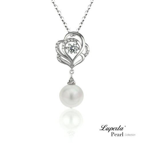 大東山珠寶 綻放 日本AKOYA天然海水珍珠純銀晶鑽項鍊 0