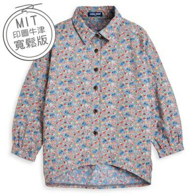 Little moni 時尚歐美Oversize牛仔印花襯衫