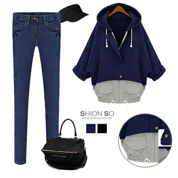享瘦衣身中大 ‧ 率性 ‧~B3054~雙層配色拼接反褶袖釦外套