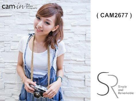 【Cam.in】潮流相機背帶 型號:CAM2677  圓孔型 編織款真皮相機背帶 顏色:土黃色