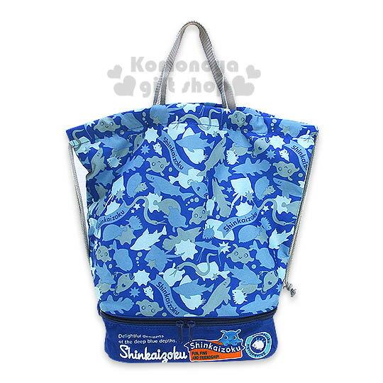 〔小禮堂〕深海族 防潑水束口後背包《藍.朋友.滿版》下方有拉鍊袋