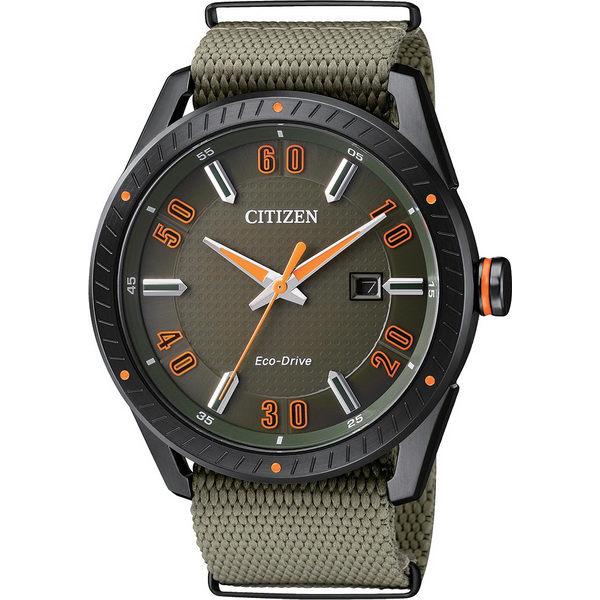 CITIZEN星辰錶BM6998~11X 光動能軍風腕錶  黑綠42mm
