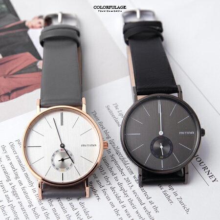 手錶 獨立秒盤皮革腕錶 柒彩年代【NE1905】單支