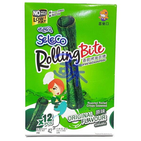 (泰國) Seleco 喜樂口 香脆烤海苔捲 -原味 1盒42公克(3.5公克*12支) 特價88元 【8852116805220】 (海苔卷/烤海苔捲/喜樂口海苔捲)
