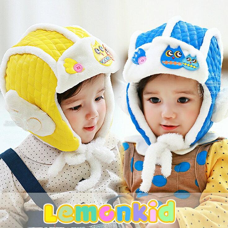 Lemonkid◆秋冬超萌小Q翅膀親子貓頭鷹質感菱格保暖造型兒童雷鋒護耳帽