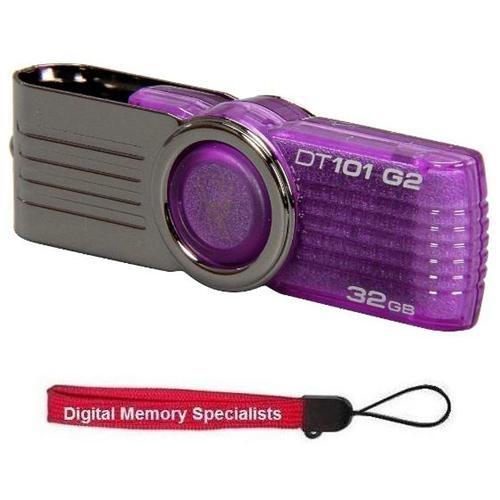 Kingston 32GB DataTraveler 101 G2 Purple 32G USB 2.0 DT101G2 Flash Pen Thumb Drive Capless Swivel DT101G2/32GB + USB Lanyard