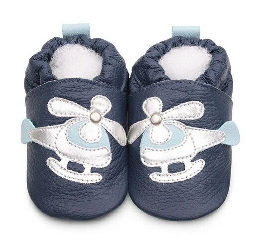 【HELLA 媽咪寶貝】英國 shooshoos 安全無毒真皮手工鞋/學步鞋/嬰兒鞋 海軍藍/銀白直升機(公司貨)