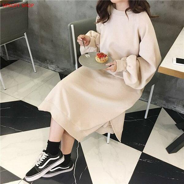 50 OFF SHOP:50%OFFSHOP韓版長款加絨開叉寬鬆衛衣裙(3色)【G033073C】