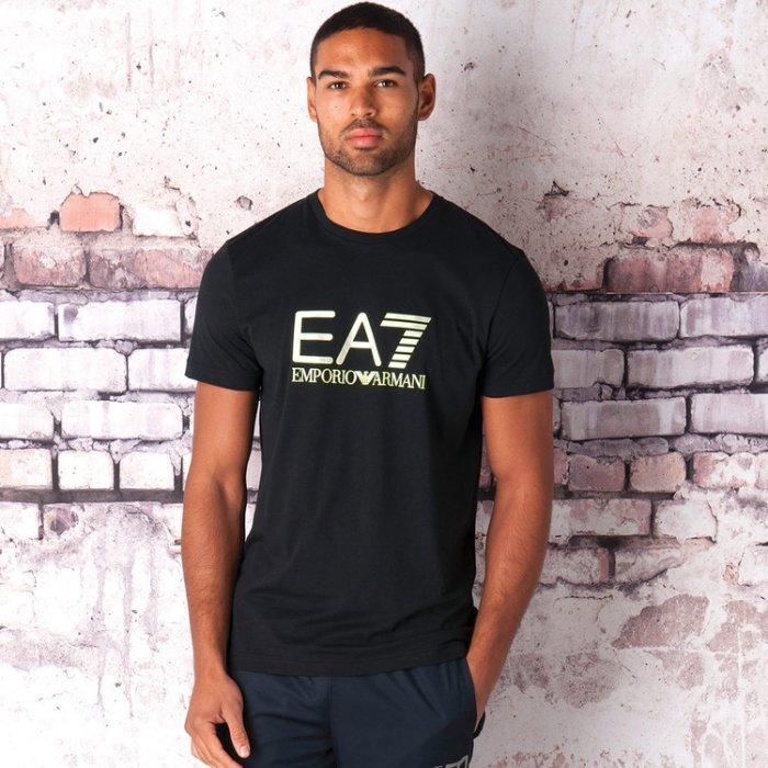 美國百分百【全新真品】Emporio Armani 短袖T恤 EA7 logo 運動 T-shirt 黑 L號 H827
