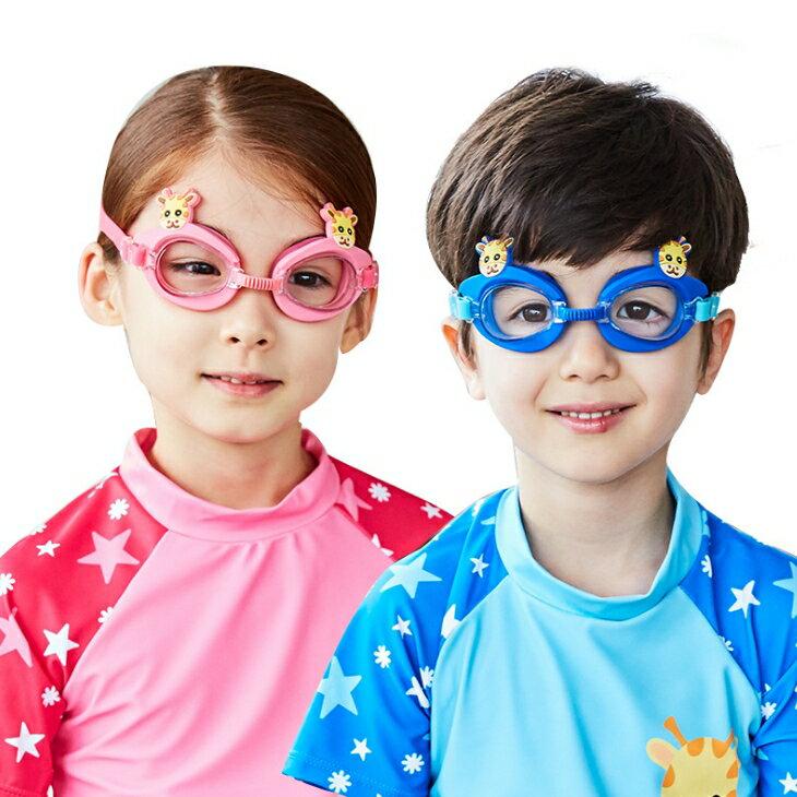 WallFree窩自在★可愛動物小鹿長頸鹿卡通造型兒童泳鏡防水護目鏡