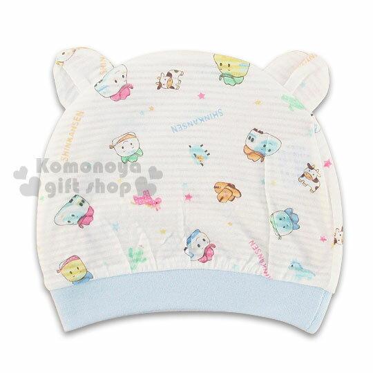 〔小禮堂嬰幼館〕 佳美 新幹線 嬰兒帽~白.車頭.星星~100^%純棉 ~  好康折扣