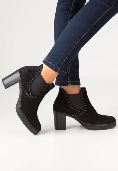 Gabor 縫紋交露踝時尚跟靴 黑 粗跟│中跟│寬楦│皮革 2