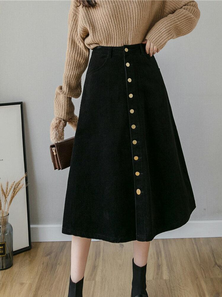 燈芯絨半身裙秋冬女穿搭日系中長款冬天配毛衣外穿遮胯冬裙子顯瘦1入