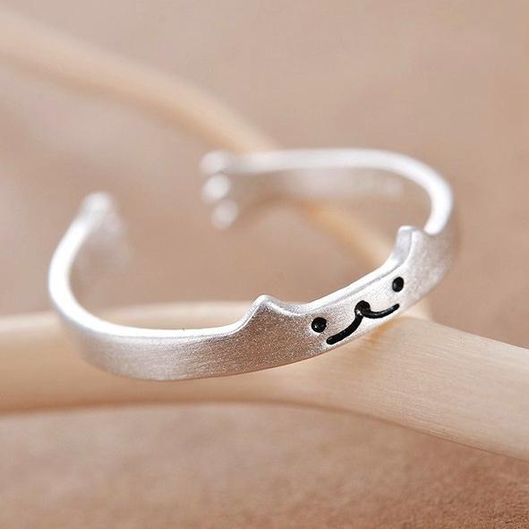 日系小清新 貓咪表情雙造型純銀戒指 可愛貓爪 簡約女生銀飾飾品 開口設計可調式戒圍 S925銀抗過敏 創意生日禮物《波卡小姐 貓咪小物》BT0105