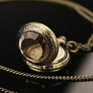 美麗大街【GX0320】 小號 迷你茶色玻璃 復古懷錶項鍊/復古毛衣鏈